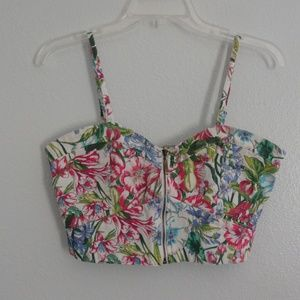 Floral crop top with Front ZIpper